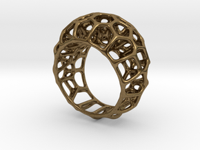Voronoi Cell Ring  (Size 60) in Natural Bronze