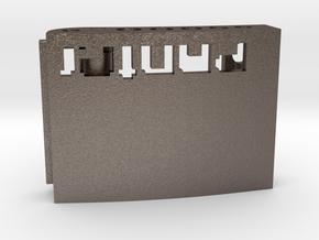 Custom Belt Buckle - Metals (branded | reduced) in Polished Bronzed Silver Steel
