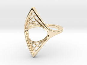 Parabolic Suspension Ring - US Size 09 in 14k Gold Plated Brass