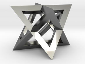 Mini-Merkaba - Sharp - Thin - 1cm in Fine Detail Polished Silver