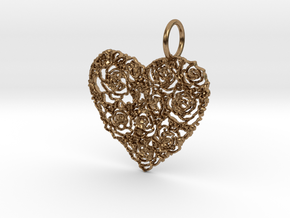 Love ShapePendant in Natural Brass