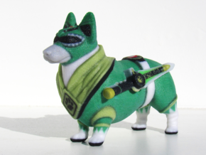 Green Ranger Corgi in Full Color Sandstone