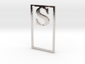 Bookmark Monogram. Initial / Letter S              in Rhodium Plated Brass