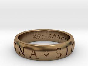 Size 12.5 Sir Francis Drake, Sic Parvis Magna Ring in Natural Brass