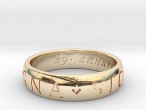 Size 12.5 Sir Francis Drake, Sic Parvis Magna Ring in 14k Gold Plated Brass