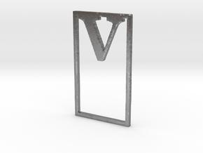 Bookmark Monogram. Initial / Letter V in Natural Silver