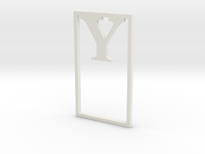 Bookmark Monogram. Initial / Letter  Y  in White Natural Versatile Plastic