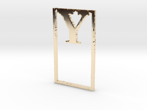Bookmark Monogram. Initial / Letter  Y  in 14k Gold Plated Brass