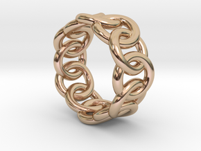 Chain Ring 17 – Italian Size 17 in 14k Rose Gold Plated Brass