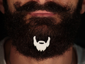 Beard icon with mustace for beard - front wearing in White Natural Versatile Plastic