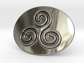 Triskell Belt Buckle in Fine Detail Polished Silver