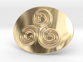 Triskell Belt Buckle in 14k Gold Plated Brass