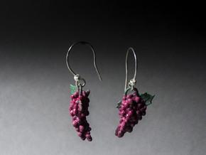 Grapes Earrings in Purple Processed Versatile Plastic