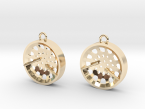 "Low Tenor ""Void"" steelpan earrings in 14K Yellow Gold"
