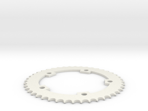 44 Tooth Chainring for Fixie Bicycle  in White Natural Versatile Plastic