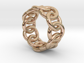 Chain Ring 23 – Italian Size 23 in 14k Rose Gold Plated Brass