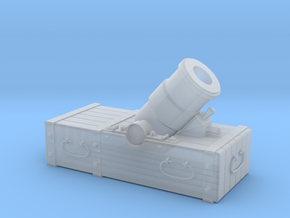 """18th-Century 8"""" Mortar on Small Sled - 1/24 Scale in Frosted Ultra Detail"""
