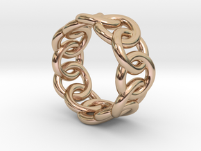 Chain Ring 25 – Italian Size 25 in 14k Rose Gold Plated Brass