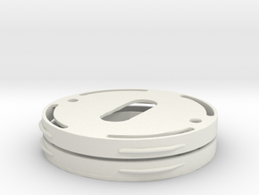 Flange for invisble mounting of  metal escutcheons in White Natural Versatile Plastic