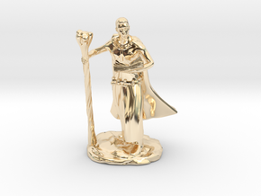 Male Elf Wizard With Spellbook And Staff in 14K Yellow Gold