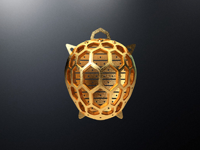 Turtle pendant in Natural Brass