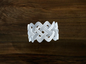 Turk's Head Knot Ring 4 Part X 12 Bight - Size 14. in White Strong & Flexible