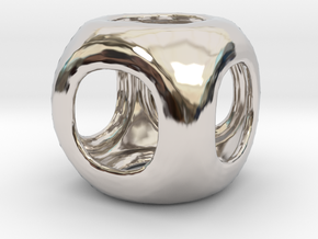 Conway Polyhedron {lseehC} in Rhodium Plated Brass