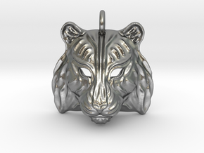 Tiger Pendant in Natural Silver