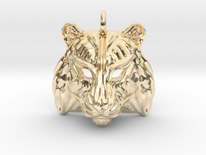 Tiger Pendant in 14k Gold Plated Brass