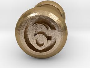6 Gauge Ear Tunnel Engraved in Polished Gold Steel