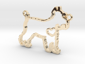 Schnauzer pendant in 14k Gold Plated Brass