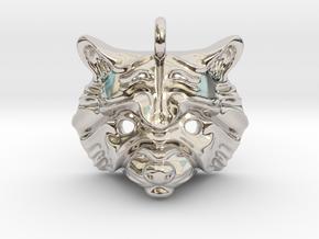 Raccoon Pendant in Rhodium Plated Brass