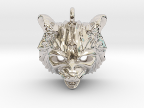 Raccoon (angry) Pendant in Rhodium Plated Brass