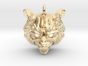 Raccoon (angry) Small Pendant in 14K Yellow Gold