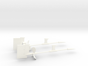 1/72 Props SET Supports And Rudders in White Processed Versatile Plastic