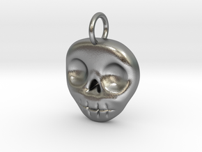 Skull Necklace/Earring pendant in Natural Silver
