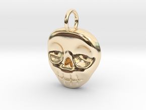 Skull Necklace/Earring pendant in 14K Yellow Gold