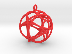 Hexagon Pendant in Red Strong & Flexible Polished
