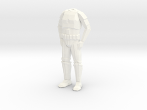 Storm Trooper Low Poly Body in White Strong & Flexible Polished