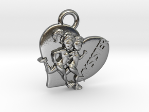I Heart Sister / Run pendant or charm in Polished Silver