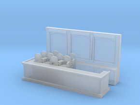 Bar & 8 Stools - N 160:1 Scale in Smooth Fine Detail Plastic