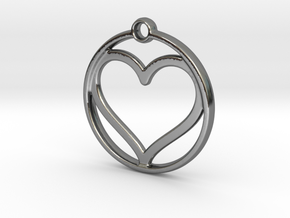 heart in circle in Fine Detail Polished Silver