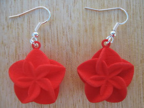 Double Flower Earrings in Red Processed Versatile Plastic