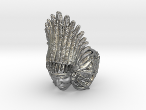AWARD WINNING DESIGN- Native American Indian Chief in Natural Silver: 10 / 61.5