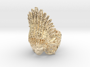 AWARD WINNING DESIGN- Native American Indian Chief in 14k Gold Plated Brass: 10 / 61.5