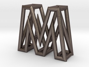 M in Polished Bronzed Silver Steel