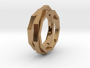 faceted ring in Polished Brass