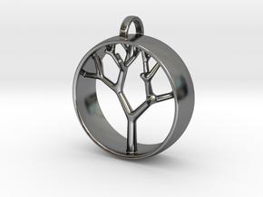 Natural Collection - Tree Pendant in Fine Detail Polished Silver