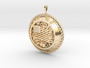 America Medalion Go Girls in 14k Gold Plated Brass