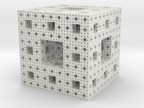 Sierpinski Cube in White Natural Versatile Plastic